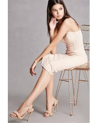 Forever 21 | Natural Oli J Open Toe Faux Fur Heels | Lyst