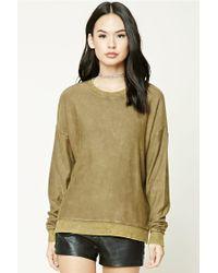 Forever 21 Green Women's Faded Fleece Knit Jumper Sweater