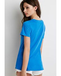Forever 21 | Blue Distressed Trim Tee | Lyst