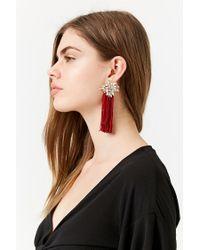 Forever 21 Red Faux Jewel Tassel Earrings