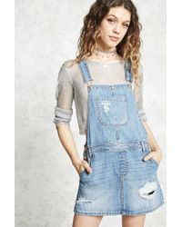 Forever 21 - Blue Distressed Overall Mini Dress - Lyst