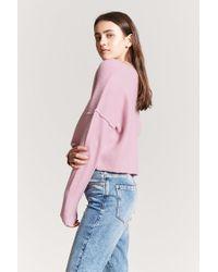 Forever 21 - Pink Women's V-neck Crop Jumper Sweater - Lyst