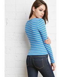 Forever 21 - Blue Ribbed Stripe Top - Lyst