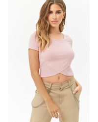 Forever 21 - Pink Ribbed Tulip Hem Top - Lyst