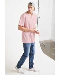 Forever 21 - Pink Classic Henley Tee for Men - Lyst