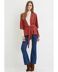 Forever 21 - Brown Contemporary Belted Topstitch-trim Kimono - Lyst