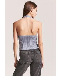 Forever 21 - Blue Ribbed Knit Halter Top - Lyst