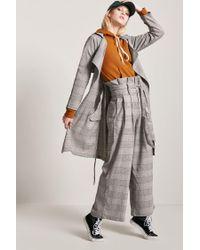 Forever 21 - Gray Glen Check Paperbag Trousers - Lyst