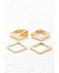 Forever 21 - Metallic Square Ring Set - Lyst