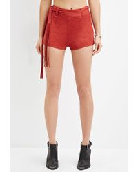 Forever 21 - Brown Fringed Faux Suede Shorts - Lyst