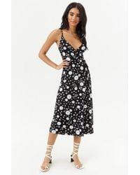 Forever 21 - Black Daisy Print Midi Dress - Lyst