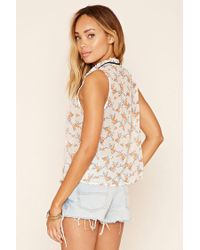 Forever 21 - White Floral Print Tie-neck Blouse - Lyst