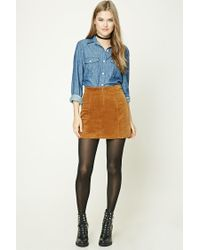 Forever 21 - Blue Chambray Button-front Shirt - Lyst