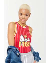 Forever 21 Red Stripe Snoopy Graphic Bodysuit
