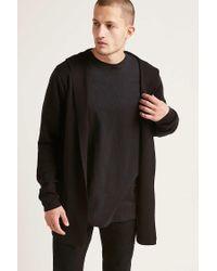 Forever 21 Black Hooded Sweater Cardigan for men