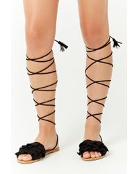 Forever 21 Black Qupid Faux Suede Sandals