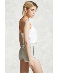 Forever 21 - White Cropped Contrast Trim Cami - Lyst