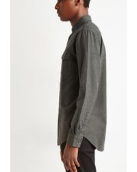 Forever 21 - Gray Textured Woven Pocket Shirt for Men - Lyst