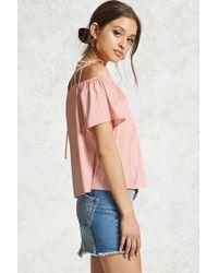 Forever 21 Pink Satin Open-shoulder Top