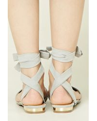 Forever 21 | Blue Strappy Faux Suede Flats | Lyst