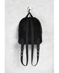 Forever 21 - Black Faux Fur Mini Backpack - Lyst