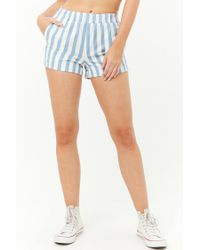 Forever 21 - Blue Women's Denim Striped Cuffed Shorts - Lyst