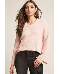 Forever 21 Pink Distressed Ribbed Bell-sleeve Top