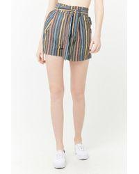 Forever 21 - Black Women's Striped Paperbag Shorts - Lyst