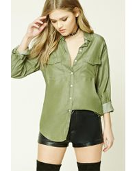 Forever 21 - Green Chambray Button-front Shirt - Lyst