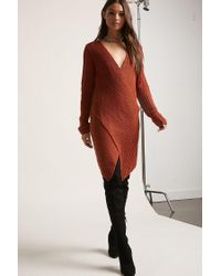 Forever 21 Red Ribbed Knit Surplice Sweater Dress