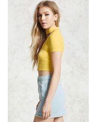 Forever 21 Yellow Women's Ribbed Choker Crop Top