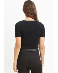Forever 21 - Black Ribbed Knit Cropped Top - Lyst