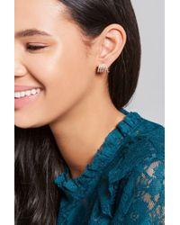 Forever 21 - Metallic Rhinestone Demi-hoop Stud Earrings - Lyst