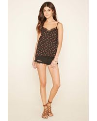 Forever 21 Gray Floral Eyelash Lace Cami