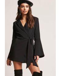 Forever 21 - Black Bell Sleeve Wrap Coat - Lyst