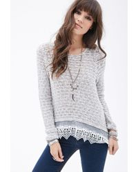 Forever 21 - Gray Crochet Lace-trimmed Sweater - Lyst