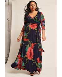 e9ed41e6c8ad Forever 21 Plus Size Floral Wrap Maxi Dress in Blue - Lyst
