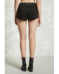 Forever 21 - Black Faux Suede Studded Shorts - Lyst