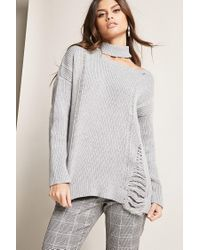 Forever 21 - Gray Mock Neck Cutout Sweater - Lyst
