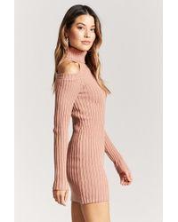 Forever 21 - Pink Open-shoulder Sweater Dress - Lyst