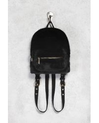 Forever 21 - Black Faux Fur Mini Backpack - Lyst