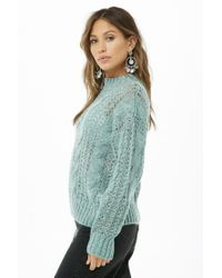 Forever 21 - Blue Cable Knit Sweater - Lyst