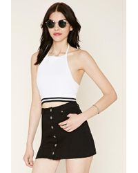 Forever 21 - White Women's Sweater-knit Crop Top - Lyst