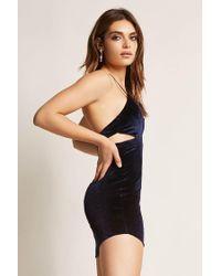 Forever 21 - Blue Selfie Leslie Velvet Cutout Mini Dress - Lyst