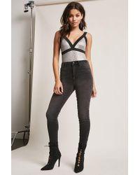 Forever 21 Black Ribbed Metallic Bodysuit