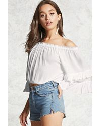 Forever 21 White Off-the-shoulder Crop Top
