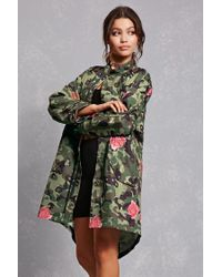 Forever 21 Multicolor Camo Print Longline Jacket
