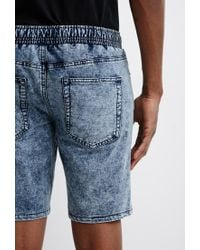 Forever 21 - Blue Acid Wash French Terry Sweatshorts for Men - Lyst