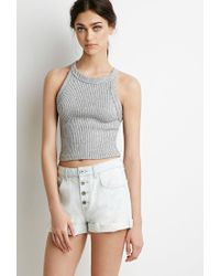 Forever 21 - Blue Button Fly Denim Shorts - Lyst