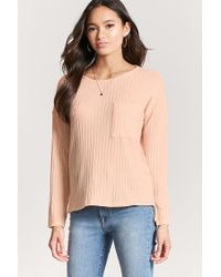 FOREVER21 Pink Ribbed Knit Marled Top
